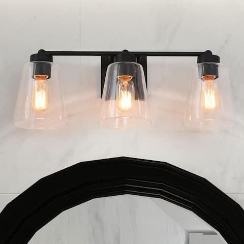 Black Farmhouse Vanity Bathroom Light Fixtures with Clear Glass Shades