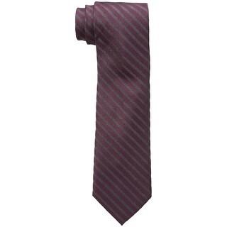 Calvin Klein NEW Red Men's Slim Glitter Striped Silk-Blends Neck Tie