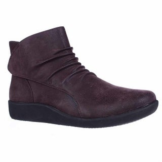 Clarks Sillian Chell Ruched Comfort Boots, Aubergine