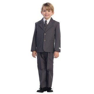 Baby Boys Charcoal Single Breasted Jacket Vest Shirt Tie Pants 5 Pc Suit