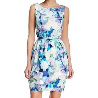 Eliza J NEW Blue Bahama Women's Size 12 Belted Pleated Sheath Dress