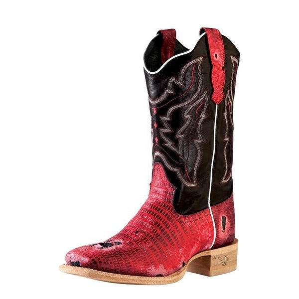 Outlaw Western Boots Womens Lizard Print Tabs Square Red Black