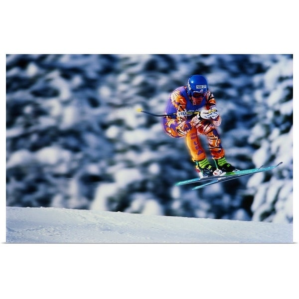 """Skiing, Downhill event, competitor jumping over ridge, trees behind"" Poster Print"