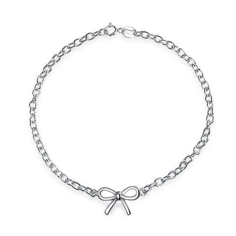 Simple Curb Link Chain Station Ribbon Bow Charm Bracelet For Teen For Women For Girlfriend 925 Sterling Silver
