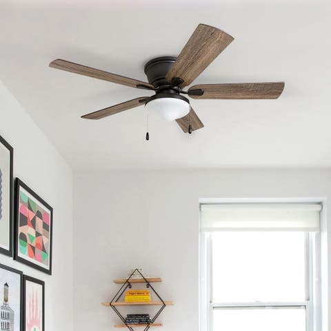 Porch & Den Watkins Bronze Finish 52-inch LED Ceiling Fan with Pull Chains 5 Reversible Blades - 52
