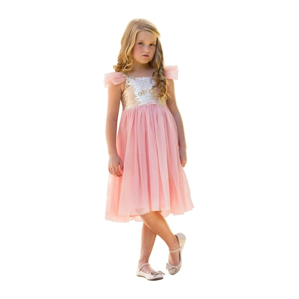 1821638724 Girls Vintage Pink Sequin Glitter Skirt Sheer Sleeve Dress