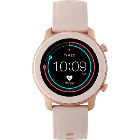 Timex Metropolitan R AMOLED Smartwatch with GPS & Heart Rate 42mm - Rose Gold-Tone with Blush Silicone Strap