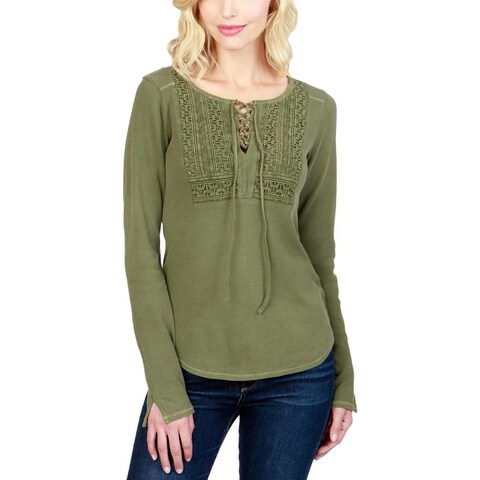 Lucky Brand Womens Thermal Top Lace Up Embroidered
