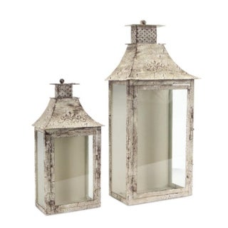 Set of 2 Cream and Brown Antique Wall Mounted Pillar Candle Lanterns 19.5""