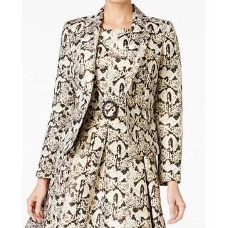Nine West NEW Deep Gold Womens Size 6 Shimmer Animal-Prined Jacket