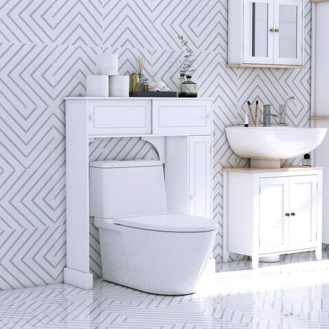 HomCom Freestanding Over Toilet Bathroom Storage Cabinet - White - 35*9*41
