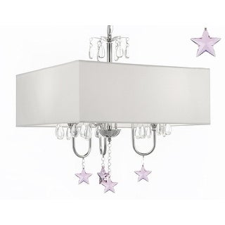 Modern Contemporary Crystal Chandelier With Large Square White Shade And Pink Crystal Stars!