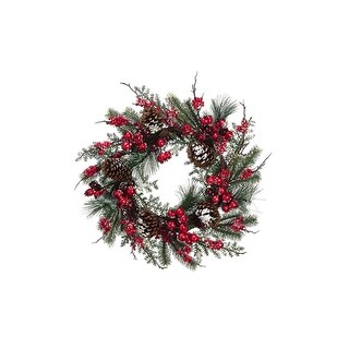 """24"""" Iced Cranberry Red Berry and Pine Cone Artificial Christmas Wreath - Unlit"""