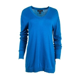 August Silk Womens Knit V-Neck Pullover Sweater