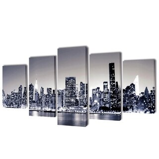 "vidaXL Canvas Wall Print Set Monochrome New York Skyline 39"" x 20"""