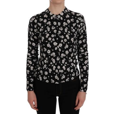 Black Cashmere Silk Floral Women's Cardigan