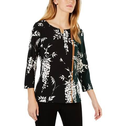 Calvin Klein Womens Blouse Floral Three-Quarter Sleeves