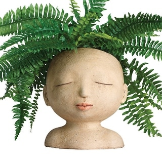 "Art & Artifact Head of a Lady Indoor/Outdoor Resin Planter - Plants Look Like Hair, 9"" Tall - 8 in. x 9 in. x 8 in."