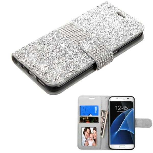 Insten Folio Flip Rhinestone Diamond Bling Leather Wallet Flap Pouch Case Cover For Samsung Galaxy S7 Edge