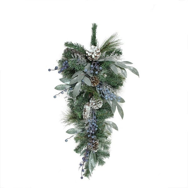 "28"" Mixed Pine, Blueberries and Snowy Pine Cones Artificial Christmas Teardrop Swag - Unlit"