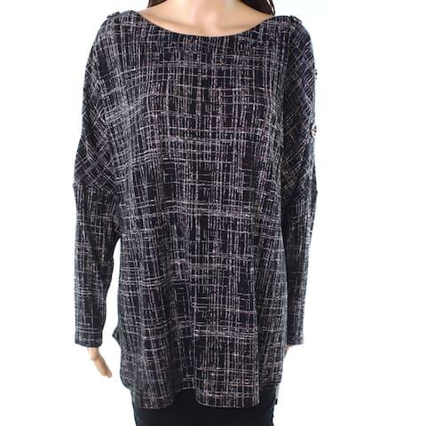 AGB Womens Top Black Size 1X Plus Plaid Knit Button-Shoulder Boat-Neck