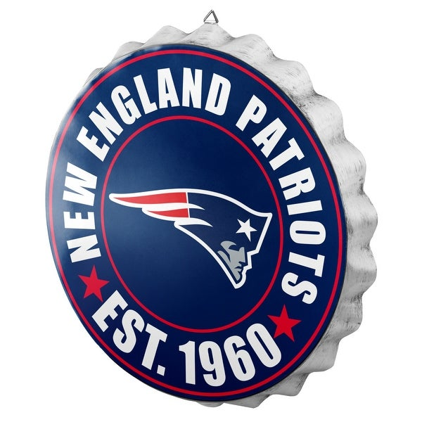ab53ab200224 NFL Licensed Metal Bottle Cap Wall Sign Team- New England Patriots