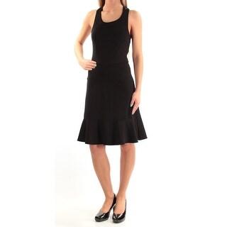 Womens Black Sleeveless Knee Length Cocktail Dress Size: 2XS