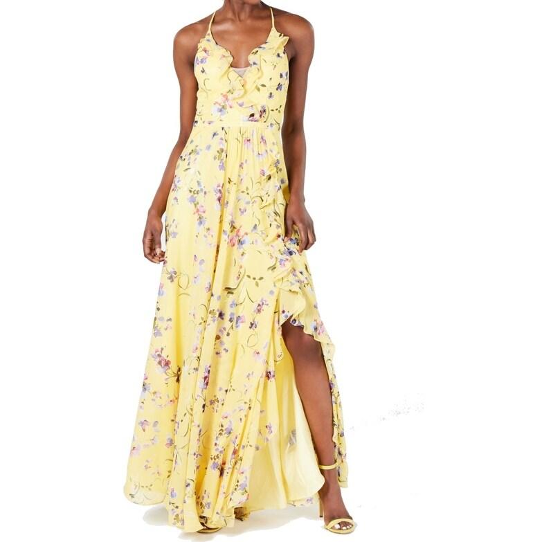 Betsy & Adam Womens Dress Sunshine Yellow Size 10 Maxi Flroal Ruffle