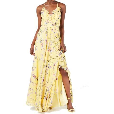 Betsy & Adam Women's Dress Sunshine Yellow Size 6 Maxi Chiffon Ruffle