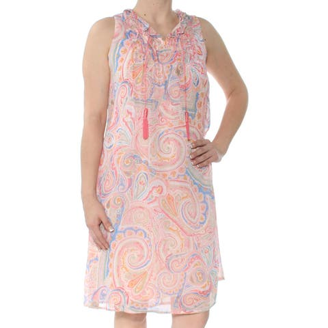496b4407c32 TOMMY HILFIGER Womens Pink Paisley-print Sleeveless V Neck Below The Knee  Shift Dress Size