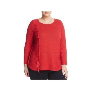 Nic + Zoe Womens Plus Braided Up Pullover Sweater Knit Lightweight