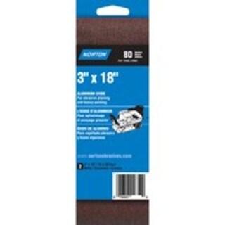 "Norton 07660702245 80-Grit 3X Power Sanding Belt, 3""x18"""