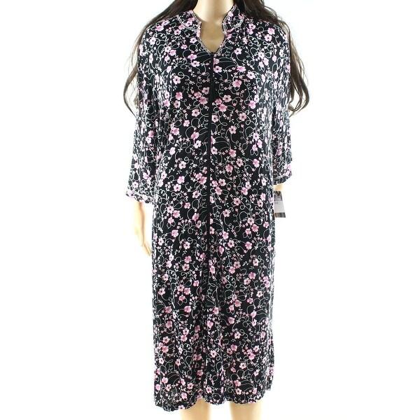 Lissowe Lounge NEW Black Womens Size Large L Floral Gowns Sleepwear ...