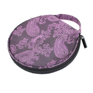 Embroidery Floral Print 20 Disc CD VCD Storage Holder Bag Case Dark Purple