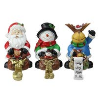 "Set of 3 Santa, Snowman and Reindeer with Gift Sacks Christmas Stocking Holders 6.5"" - White"