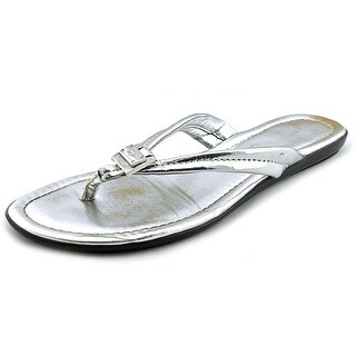 Marc Fisher Alves Women Open Toe Leather Silver Flip Flop Sandal