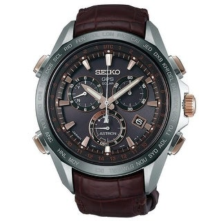 Link to Seiko Men's SSE025 'Astron GPS Solar' Chronograph World Time Brown Leather Watch - Black Similar Items in Men's Watches