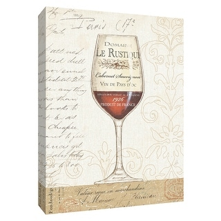 """PTM Images 9-154441  PTM Canvas Collection 10"""" x 8"""" - """"Wine by the Glass I"""" Giclee Wine Art Print on Canvas"""