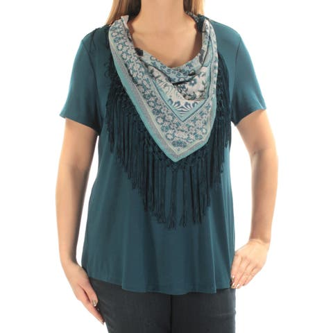 STYLE & CO Womens Blue W/ Fringed Scarf Short Sleeve Jewel Neck Top Plus Size: OX