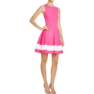 Aqua Womens Wear to Work Dress Colorblock A-Line