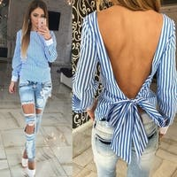 Striped Blouse in Blue and White & Pink and White
