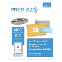 PRES-a-ply Permanent-Adhesive Address Labels For Laser and Inkjet Printers, 1-1/3 x 4 in, White, Box of 1400
