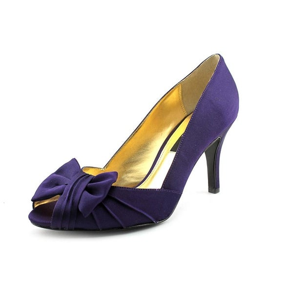 Nina Forbes Women W Peep-Toe Canvas Purple Heels