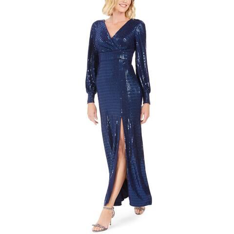 Night way Women's Dress Blue Size 4 Gown Side-Slit V-Neck Shimmer