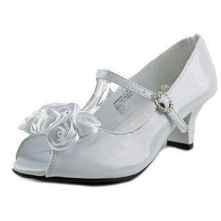 Little Angel Amber Youth Peep-Toe Patent Leather White Heels