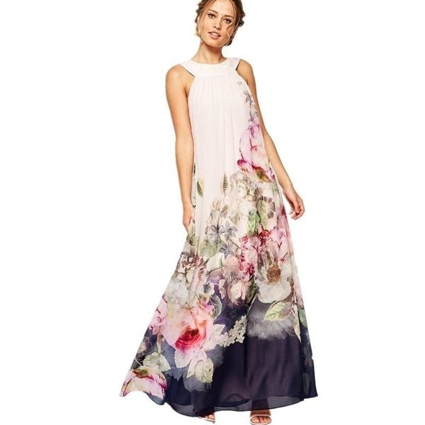 a01f97ad41cd8 Boho Style 2017 Chiffon Beach Dress Women Floral Printing Summer Sleeveless  Hanging Neck Sundress Hot Ladies Maxi Dresses