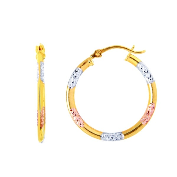 Mcs Jewelry Inc 14 KARAT GOLD TRICOLOR HOOP EARRINGS (20MM)
