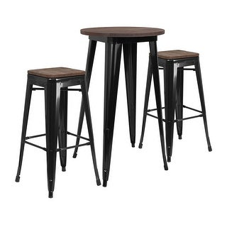 "Offex 24"" Round Black Metal Bar Table Set with Wood Top and 2 Backless Stools - N/A"