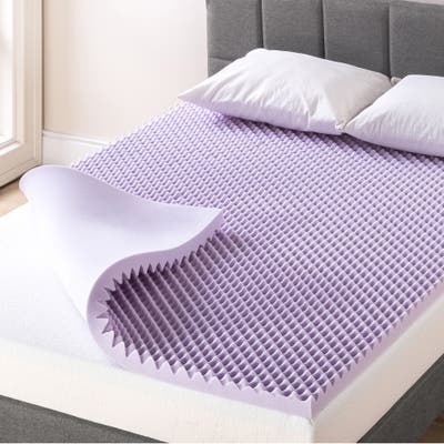 2 Inch Egg Crate Memory Foam Mattress Topper with Soothing Lavender Infusion - Crown Comfort