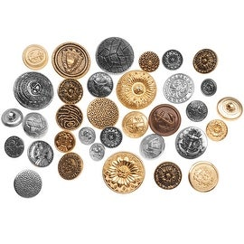 Assorted Vintage Metal Buttons Gold And Silver Tone 12-28mm Diameter - 1/4 Pound